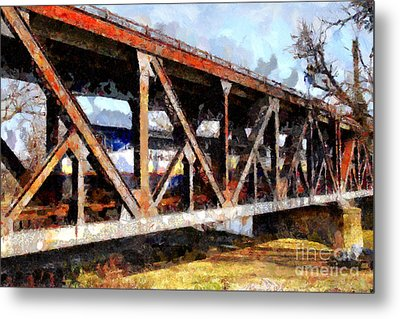 Amtrak California Crossing The Old Sacramento Southern Pacific Train Bridge . Painterly 7d11410 Metal Print by Wingsdomain Art and Photography