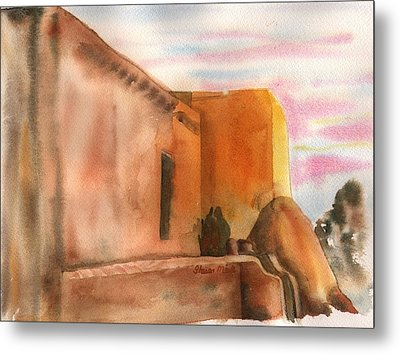 Metal Print featuring the painting An Age Old Adobe by Sharon Mick
