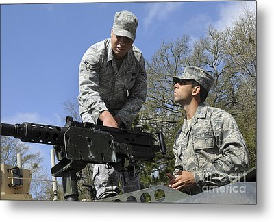 An Airman Instructs A Cadet On How Metal Print by Stocktrek Images