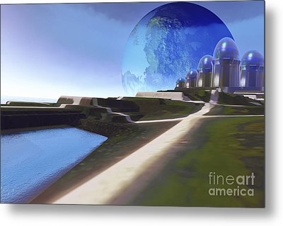 An Alien World With Strange Metal Print by Corey Ford