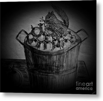 Metal Print featuring the drawing An Apple A Day by Ayasha Loya