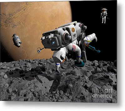 An Astronaut Makes First Human Contact Metal Print by Walter Myers