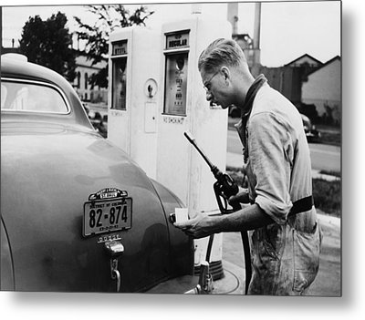 An Automobile Service Station Attendant Metal Print by Everett