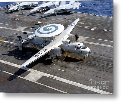 An E-2c Hawkeye Lands On The Flight Metal Print by Stocktrek Images