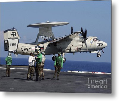 An  E-2c Hawkeye Launches From Aboard Metal Print by Stocktrek Images