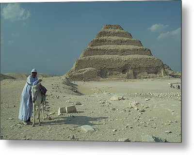 An Egyptian Man And Donkey At The Step Metal Print by Richard Nowitz