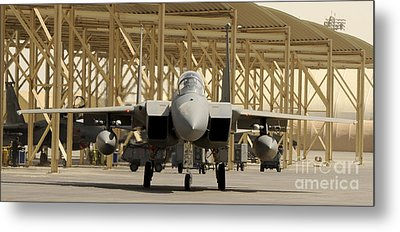An F-15 Eagle Taxis Prior To A Training Metal Print by Stocktrek Images