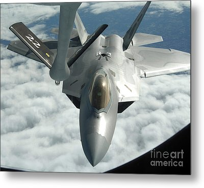 An F-22a Raptor Refuels With A Kc-135 Metal Print by Stocktrek Images