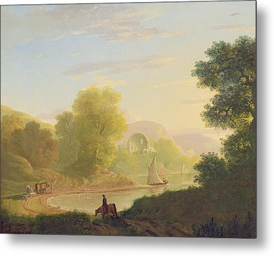 An Imaginary Coast Scene - With The Temple Of Venus At Baiae Metal Print