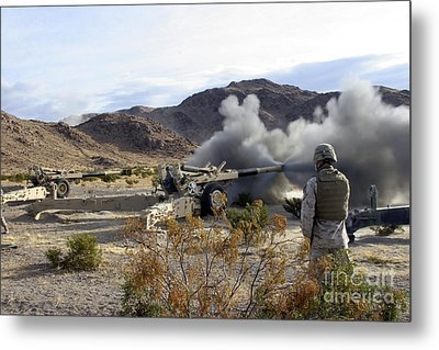 An M198 Howitzer Fires A 155-millimeter Metal Print by Stocktrek Images
