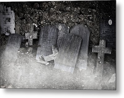 An Old Cemetery With Grave Stones And Fog Metal Print by Joana Kruse