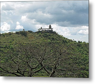 An Old Temple Building On Top Of A Hill With A Lot Of Clouds In The Sky Metal Print by Ashish Agarwal