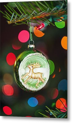 An Ornament With A Reindeer Hanging Metal Print by Craig Tuttle