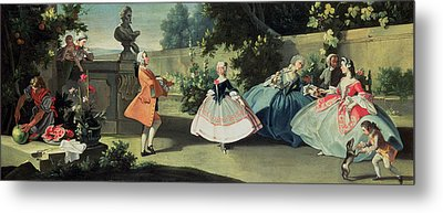 An Ornamental Garden With A Young Girl Dancing To A Fiddle Metal Print by Filippo Falciatore