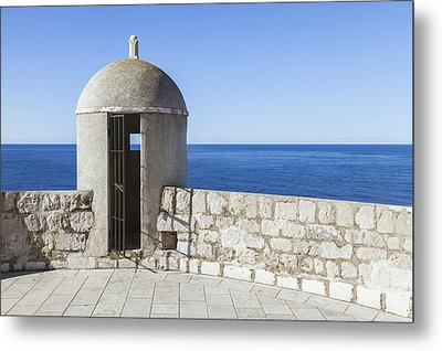An Outpost Overlooking The Adriatic Sea Metal Print by Greg Stechishin