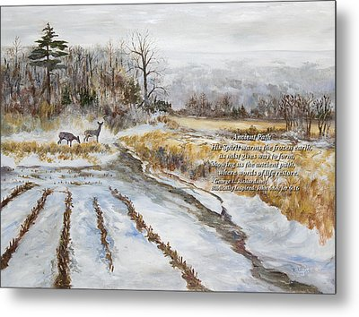 Metal Print featuring the painting Ancient Path With Poem by George Richardson