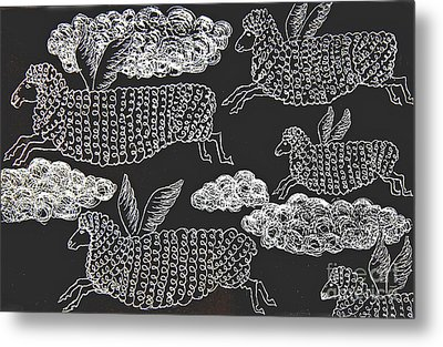 Metal Print featuring the drawing And Sheep Can Fly by Nareeta Martin