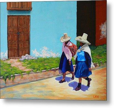 Andean Ladies, Peru Impression Metal Print