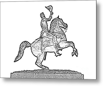 Andrew Jackson Statue Jackson Square French Quarter New Orleans Photocopy Digital Art Metal Print by Shawn O'Brien