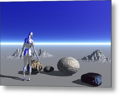 Android On The Blue Planet Metal Print