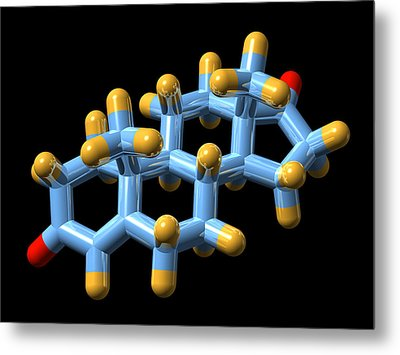 Androstenedione Hormone, Molecular Model Metal Print by Dr Mark J. Winter