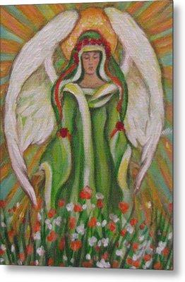 Angel In The Garden Metal Print by Radha Flora Cloud