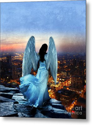 Angel On Rocky Ledge Above City At Night Metal Print by Jill Battaglia