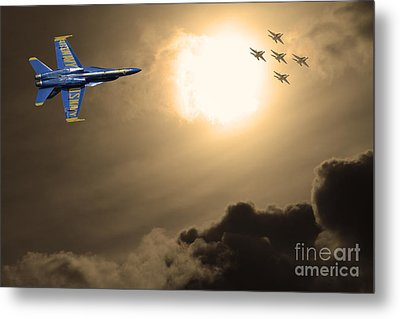 Angels In The Sky . Partial Sepia Metal Print by Wingsdomain Art and Photography