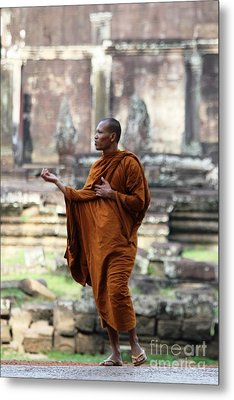 Metal Print featuring the photograph Angkor Wat Monk by Nola Lee Kelsey