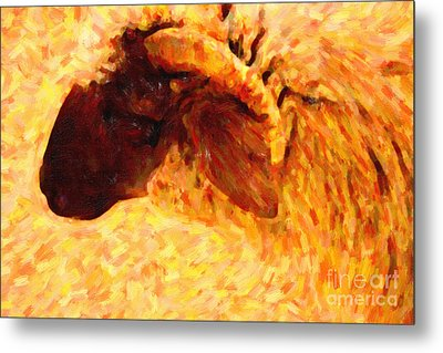 Angora Goat In Abstract Metal Print by Wingsdomain Art and Photography