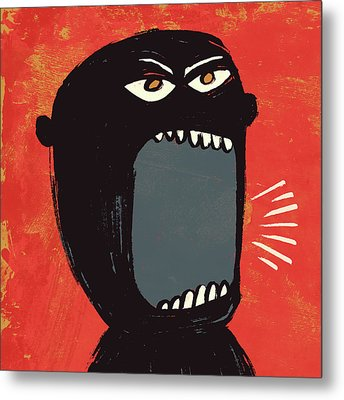 Angry Shout Man Illustration Metal Print by Don Bishop