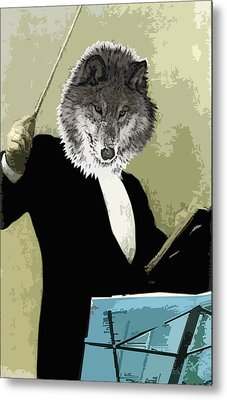 Animal Family 8 Wolf Composer Metal Print by Travis Burns