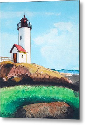 Aninisquam Harbor Light Metal Print by Anthony Ross