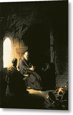 Anna And The Blind Tobit Metal Print by Rembrandt Harmensz van Rijn