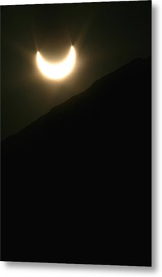 Metal Print featuring the photograph Annular Solar Eclipse At Sunset Number 1 by Lon Casler Bixby