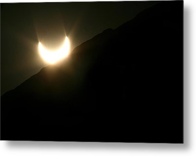 Metal Print featuring the photograph Annular Solar Eclipse At Sunset Number 2 by Lon Casler Bixby