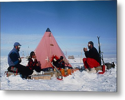 Antarctic Research Team Relaxing Outside Tent Metal Print by David Vaughan