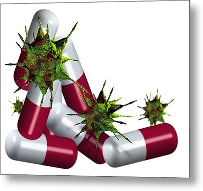 Antibiotic Pills And Microbes, Artwork Metal Print by Victor Habbick Visions