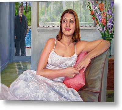 Metal Print featuring the painting Anticipation - Jasmin Contemplates The Prom by Nancy Tilles