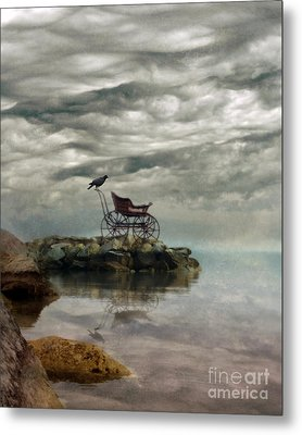 Antique Baby Buggy By The Sea Metal Print by Jill Battaglia