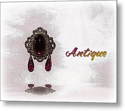 Metal Print featuring the photograph Antique Brooch Reflected by Pamela Hyde Wilson