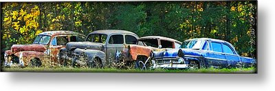 Antique Cars Graveyard Metal Print