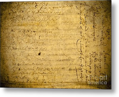 Antique Document Metal Print by Dave & Les Jacobs