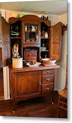 Antique Hoosier Cabinet Metal Print by Carmen Del Valle