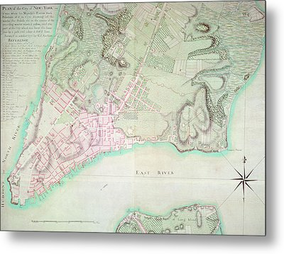 Antique Map Of New York Metal Print