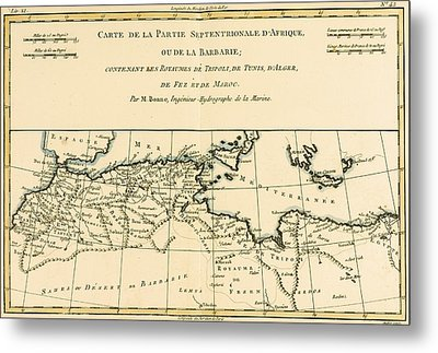 Antique Map Of North Africa Metal Print by Guillaume Raynal