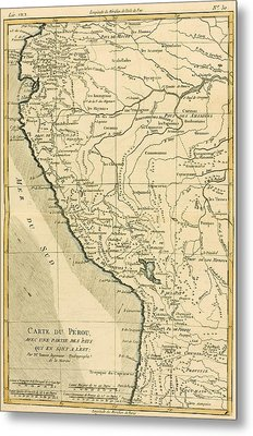 Antique Map Of Peru Metal Print by Guillaume Raynal