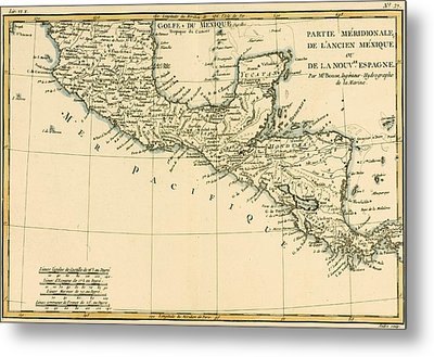 Antique Map Of Southern Mexico Metal Print by Guillaume Raynal
