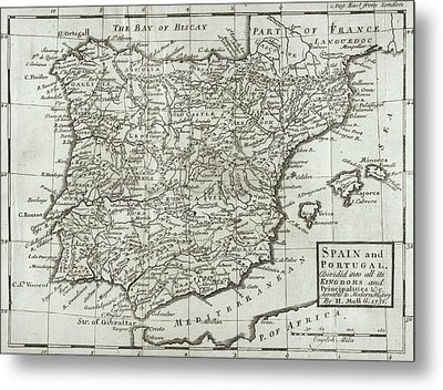Antique Map Of Spain And Portugal Metal Print by Hermann Moll