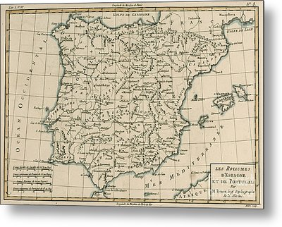 Antique Map Of Spain Metal Print by Guillaume Raynal